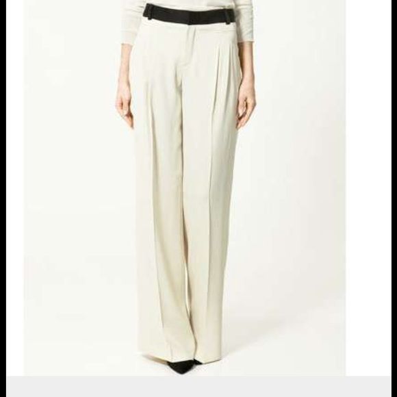 FLASH SALE Zara trousers Zara Woman cream colored trousers with black waist. Nwot. Beautiful Zara Pants Trousers