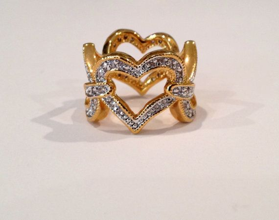 Vintage Eternity Pave Heart Two Tone Estate Jewelry Ring on Etsy, $79.00