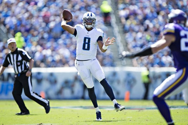 Marcus Mariota #8 of the Tennessee Titans throws a pass during the first half of a game against the Minnesota Vikings at Nissan Stadium on Sept. 11, 2016 in Nashville.