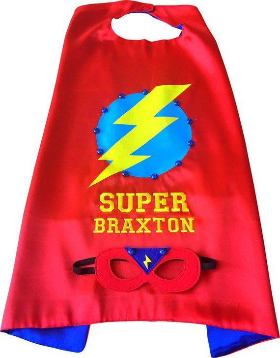 Personalized Superhero Cape and Mask Set by Thimbleful