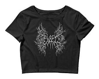 pastel goth shirt, nu goth shirt, gothic shirt, crop top, womens tshirts, womens tops, black metal, heavy metal, heavy metal shirt, coffee
