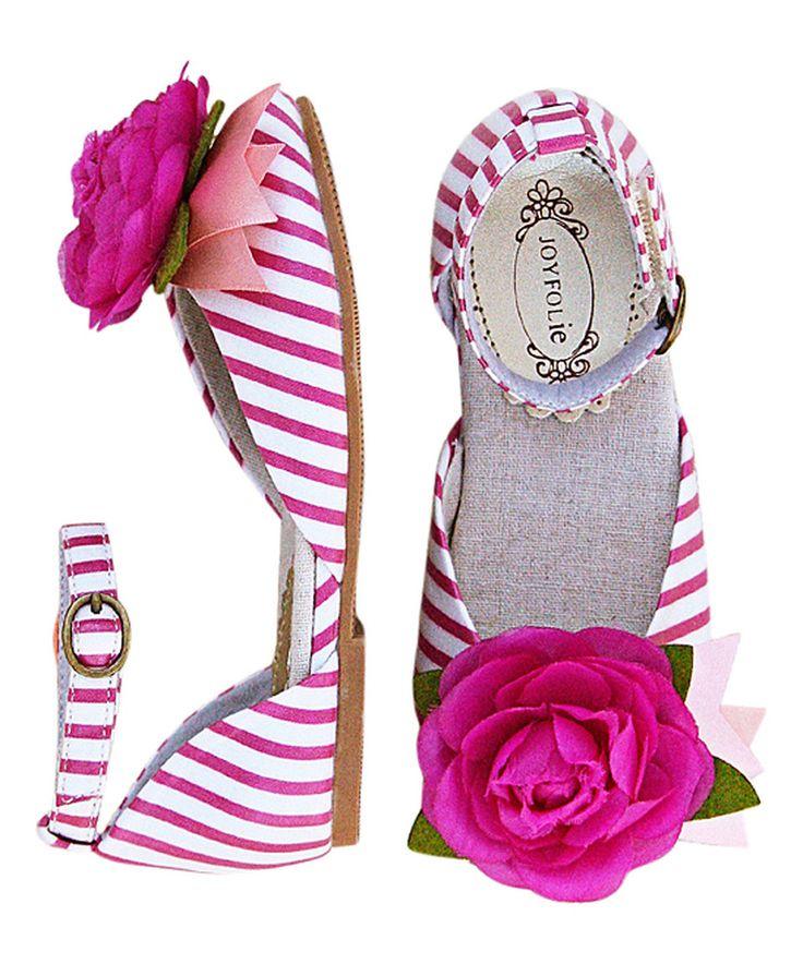This Pink & White Stripe Aubrey Ankle-Strap Flat & Hair Clip - Kids by Joyfolie is perfect! #zulilyfinds