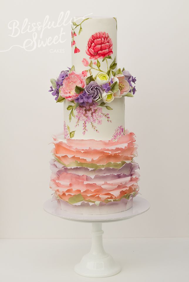 Pastel Florals Wedding Cake