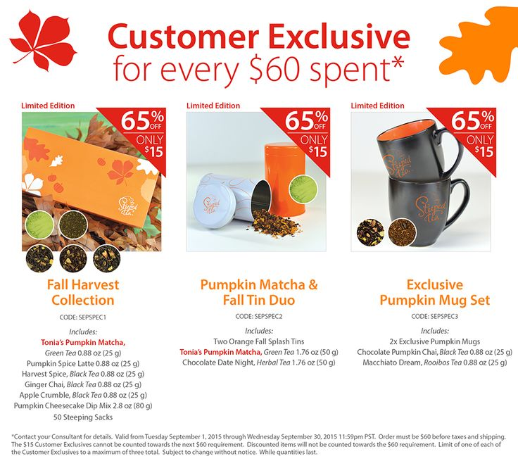 Customer Exclusive! For every $60 spent, purchase one of three Limited Edition Specials for only $15! Including our Fall Harvest Collection, Pumpkin Matcha & Fall Tin Duo, and our Exclusive Pumpkin Mug Set. Which one will you choose?