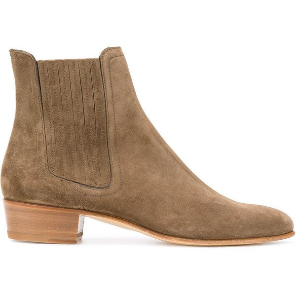 Louis Leeman pointed ankle boots (€720) ❤ liked on Polyvore featuring men's fashion, men's shoes, men's boots, brown, mens leather boots, mens leather sole shoes, mens ankle boots, mens leather ankle boots and mens pointed toe shoes