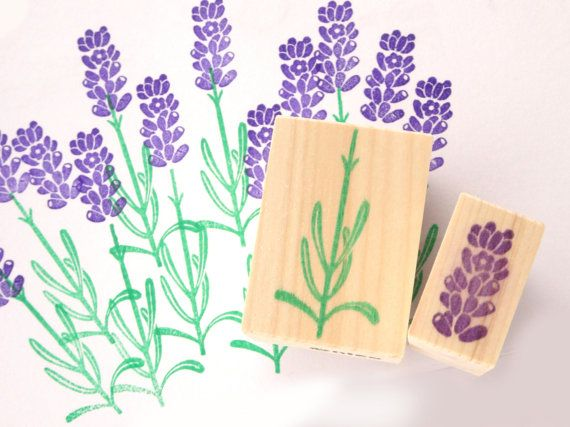 Lavender stamp for your handmade cards by JapaneseRubberStamps