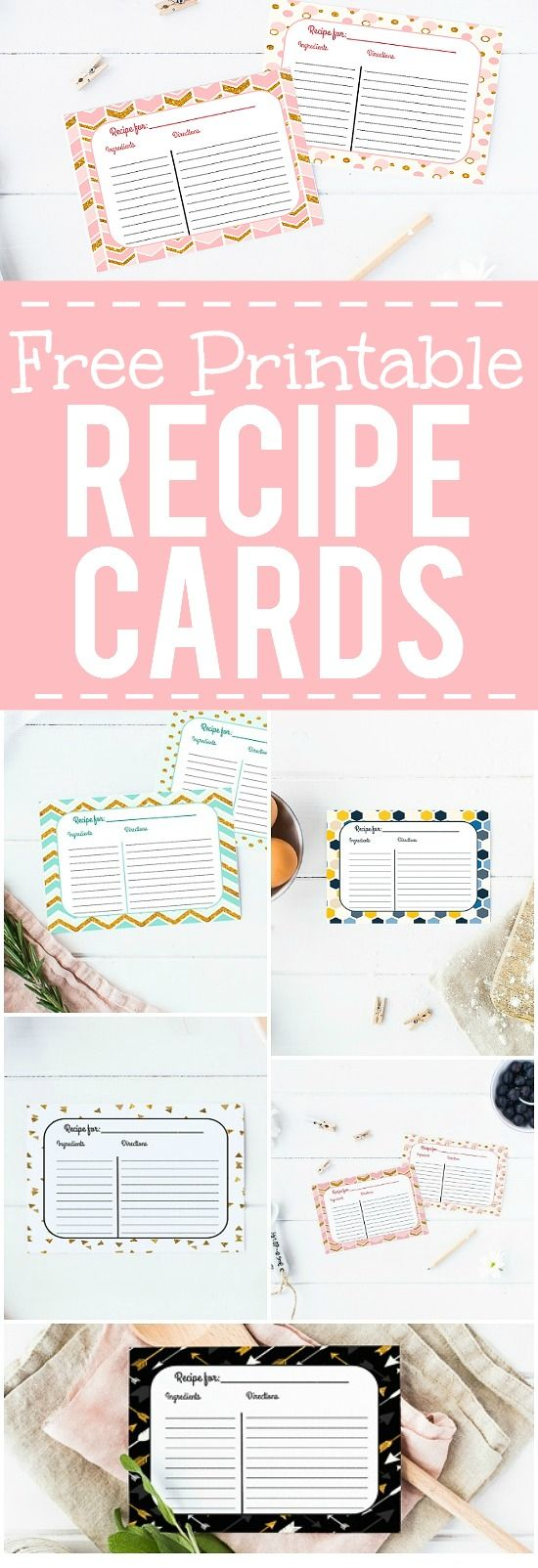 Free Printable Recipe Cards - Keep all of your favorite recipes safe and…