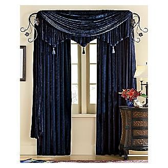 Woven Velvet Curtains In Black