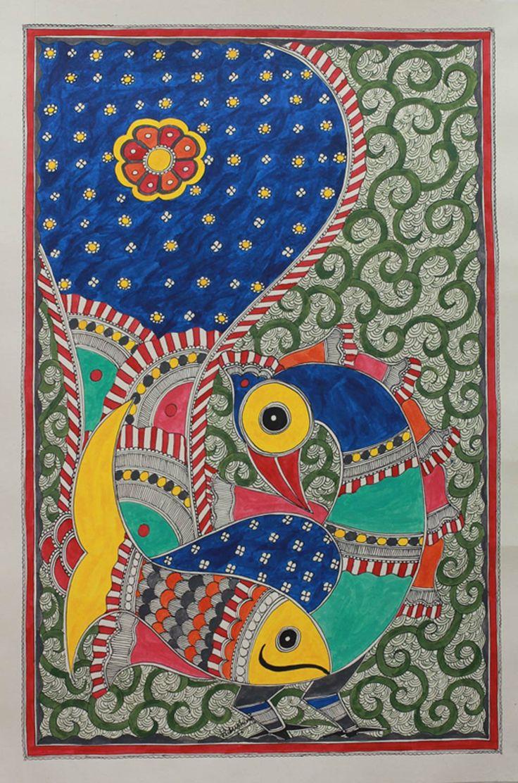 Madhubani painting - Fish and Magnificent Peacock | NOVICA