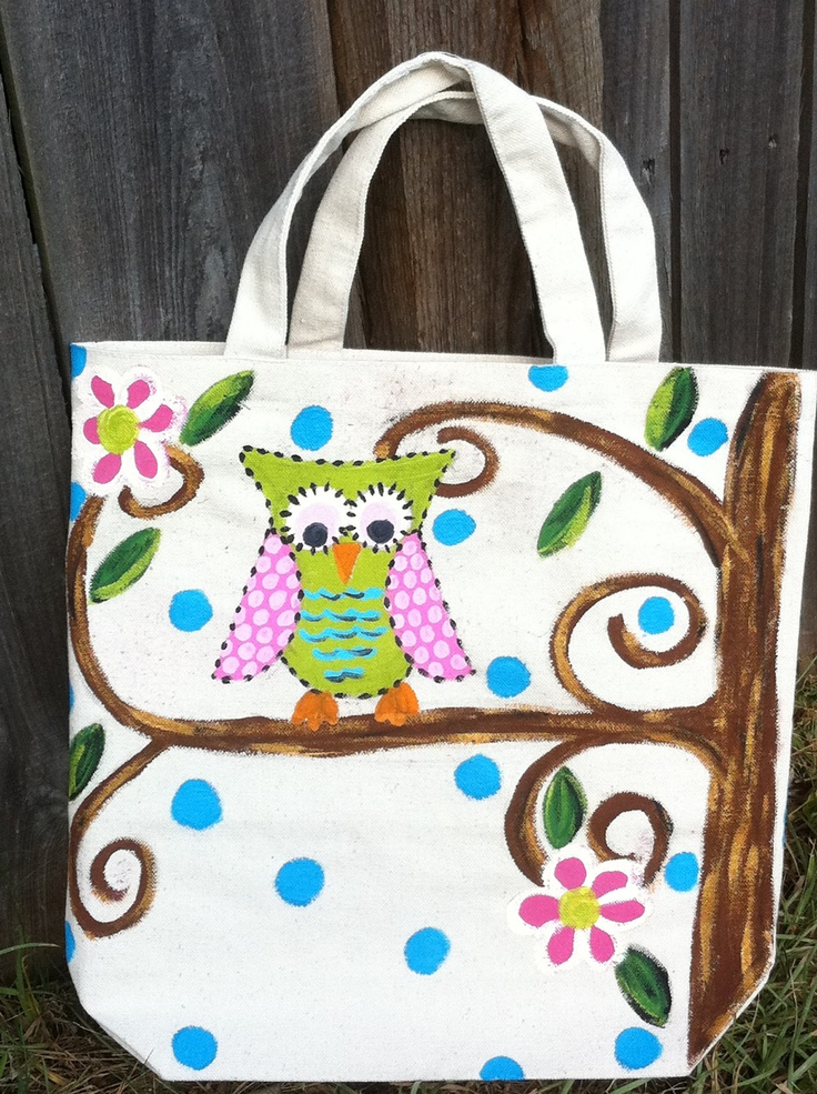 Owl painted canvas bag, super cute!                                                                                                                                                                                 More