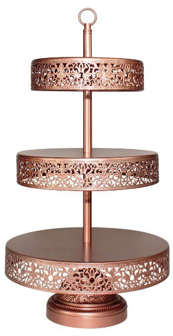 Victoria Collection' 3 Tier Rose Gold Cupcake Stand, Dessert Tower Cake Wedding Display (Rose Gold)
