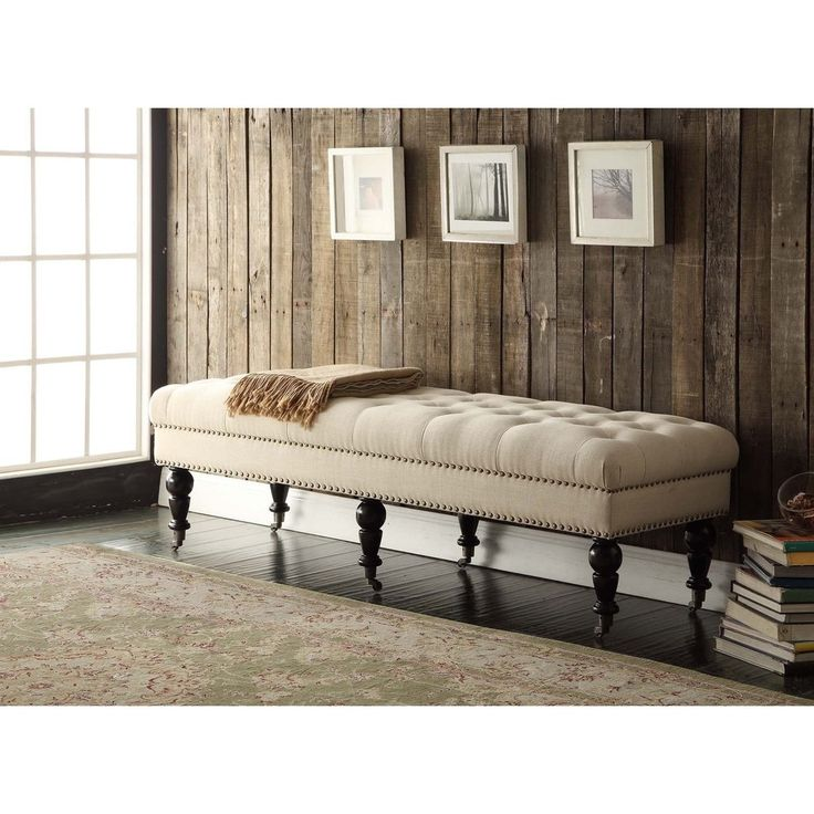 tufted bedroom bench linon 62 inch linen tufted bench isabelle bed bench 62 13603