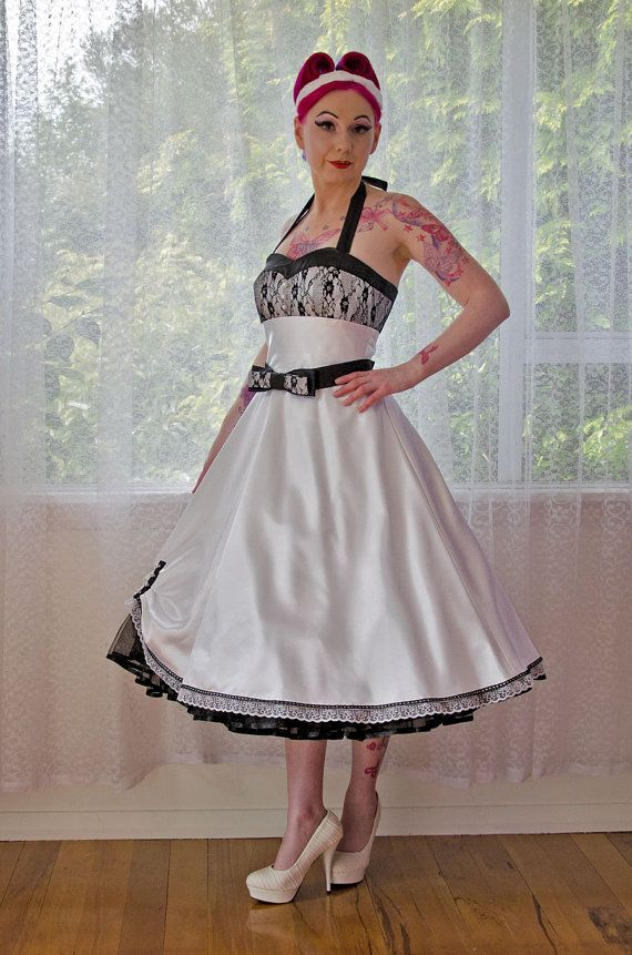 """1950's """"Clara"""" White Wedding Dress with a Sweetheart Bodice, Lace Overlay, Tea Length Skirt, Bow Belt and Petticoat - Custom made to fit on Etsy, $414.96"""