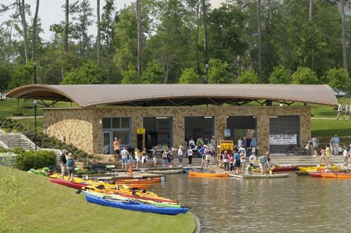 The Woodlands, TEXAS --  Kayak rentals are available at the Riva Row Boat House along with light concessions and lockers.