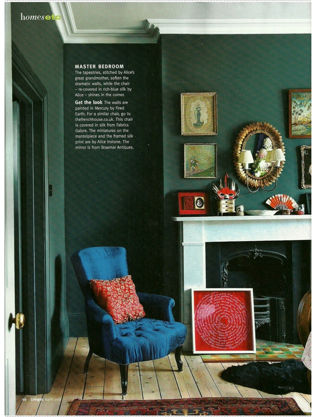 Peacock Blue Chair With Dray Gray Walls And Charcoal Fireplace
