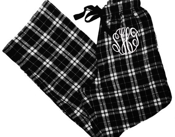 Black And White Plaid Monogrammed Pajamas Monogrammed