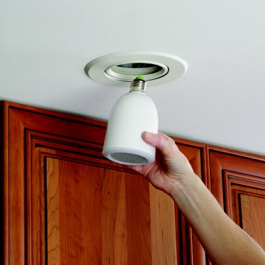 Speakers that screw into your recessed light socket....Audio bulbs.