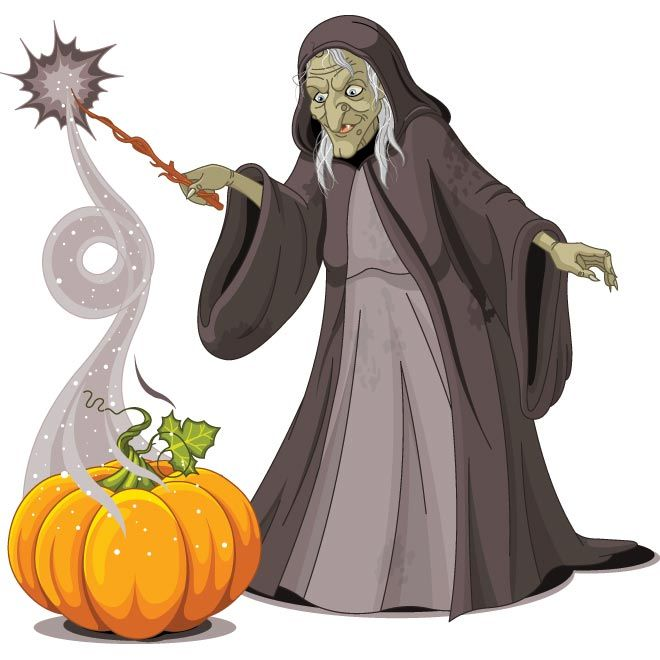 Vector Old Scary Lady Witch With Big Pumpkin Doing Magician Template For Halloween Day