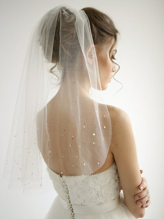 Pearls silk tulle wedding veil 1/ single tier by HoneyPieBridal