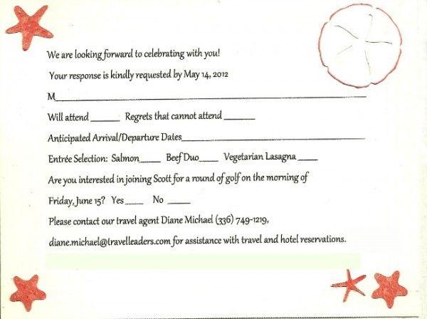 destination wedding response card wording sample