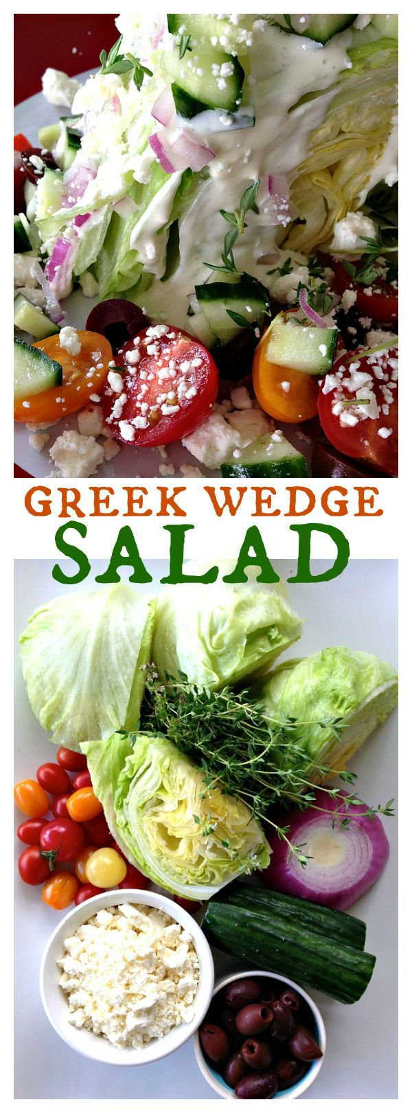 Healthy Greek Wedge Salad for salad bar potluck!