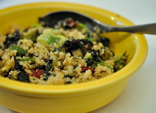Chard, Avocado, Asparagus Quinoa...just quinoa and sea salt is yummy...this sounds heavenly!