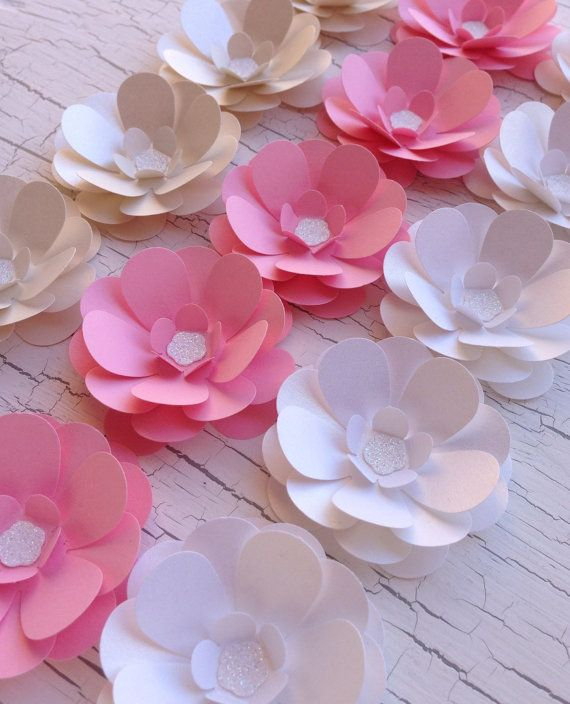 15 Paper Flowers- Peonies In Champagne Shimmer, White Shimmer & Baby Pink