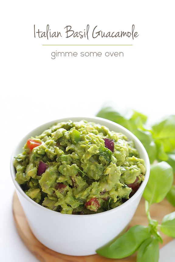 "Italian Guacamole - Gimme Some Oven. Not sure how ""Italian"" this is as we do not use avocados here in Italy but this looks delicious and I will try it soon!"