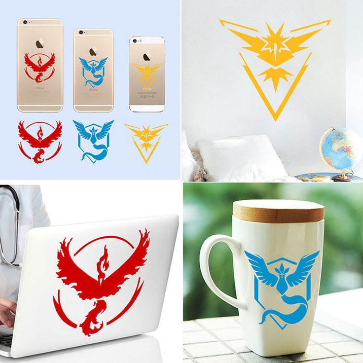 Details About Japanese Pokemon Wall Sticker Team Valor Mystic Instinct PVC  Phone Decals Sheet