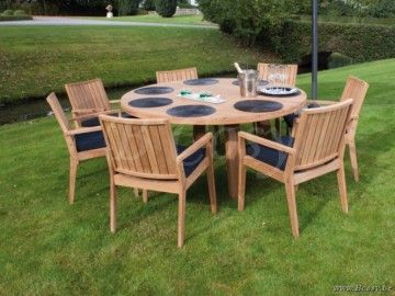 Gescova Deauville Oakland Table de repas jardin Rond Vieux teck récyclé Massive naturel Ø165