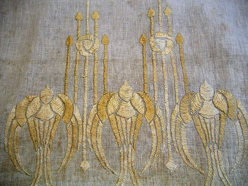 Embroidery typical of the Arts and Crafts Movement