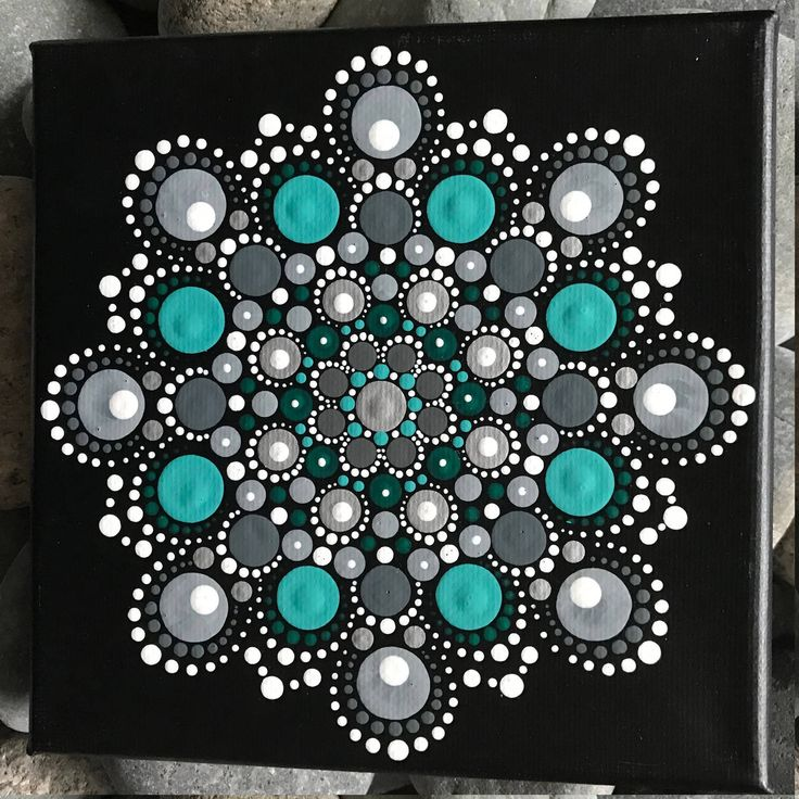 "6"" x 6"" Hand-Painted Mandala on Canvas - dot painting"