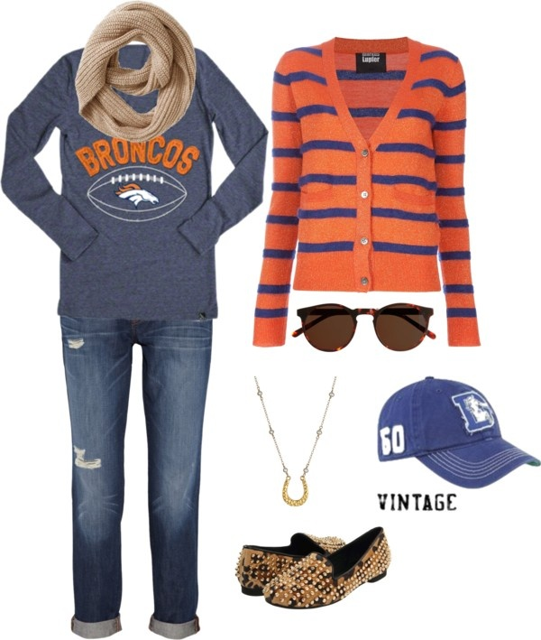 """Denver Broncos: Game Day Fashion"" Comfort and Cute are key when you're going to watch a Denver Broncos game in the mile high city. Whether you're at the stadium or at a bar, this outfit is a touchdown."