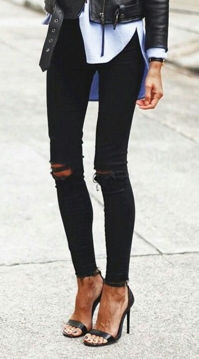 black ripped jeans. sandals. leather jacket.