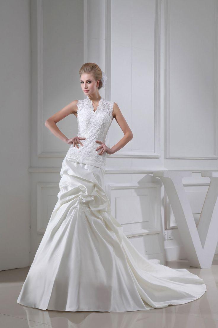 The dress garden utah - Sheath White Satin Court Train V Neck Wedding Dress With Embroidery