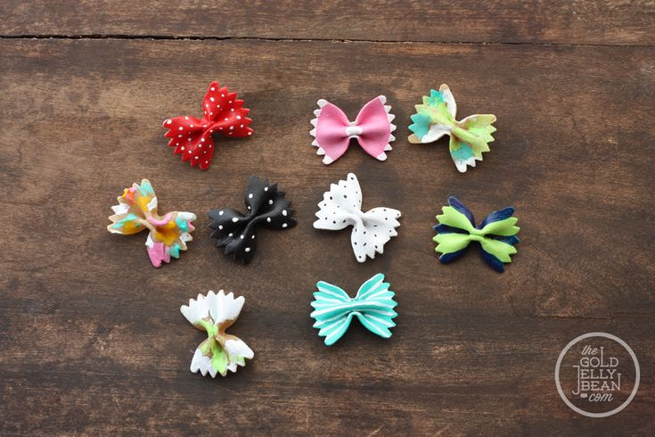 DIY Farfalle Pasta Hair Bows.  This is so cute and I guess you can use acrylic paints or nail polish...but I would imagine they would break so easy :(