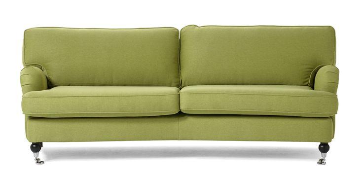Hampton 3-sits soffa svängd är en klassisk howard soffa med rundade former. Den går att få i ett antal olika tyger och färger och du kan välja att få den med standard eller plus komfort. Plus komforten har en topp av bollfiber/skuren polyeter.