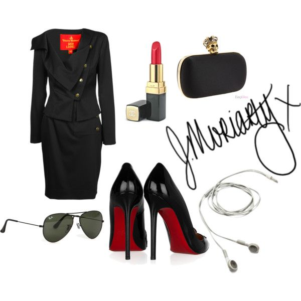 Sherlock Genderswap: Female Moriarty by toujourswhitney on Polyvore featuring Vivienne Westwood, Christian Louboutin, Ray-Ban, Alexander McQueen, Chanel, moriarty, femme, bbc, holmes and sherlock