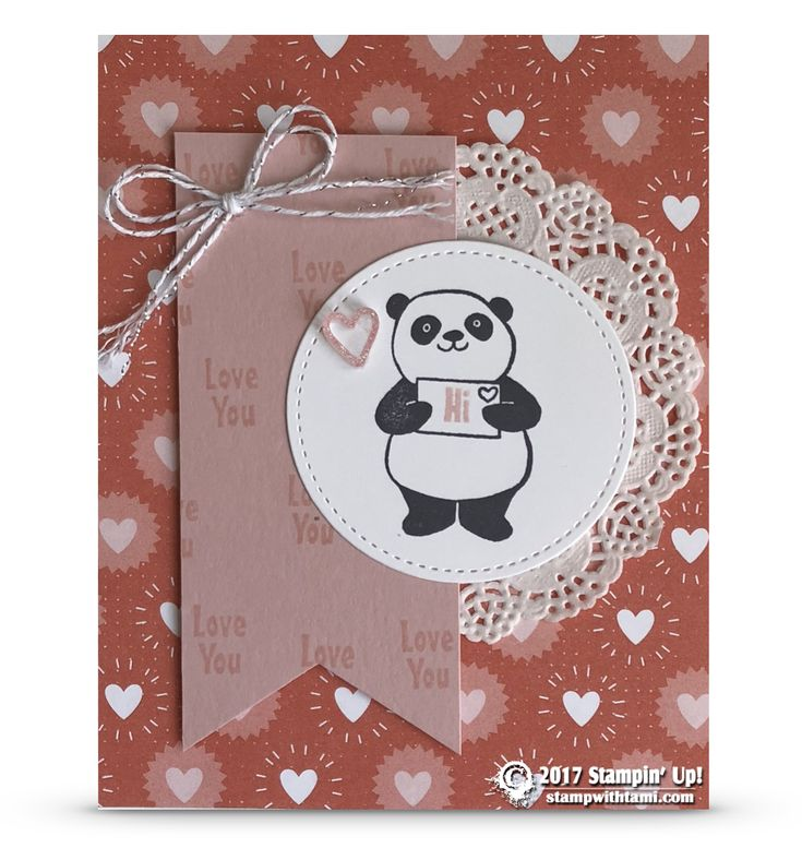 SNEAK PEEK: Love You Card from Sale-a-Bration Party Panda Stamps | Stampin Up Demonstrator - Tami White - Stamp With Tami Crafting and Card-Making Stampin Up blog