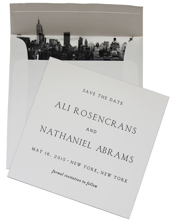 Letterpressed wedding save the date card finished with a metallic gold painted edge and envelop liner featuring the New York skyline by Regas