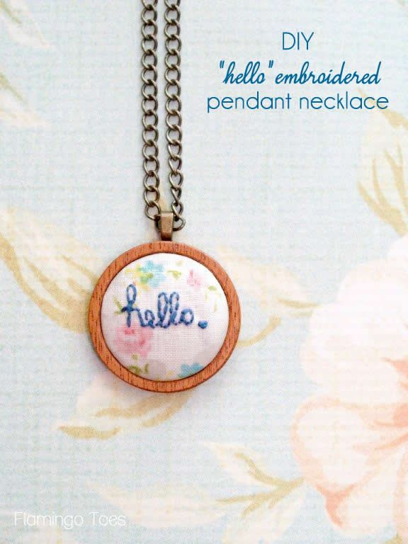 "DIY ""hello"" embroidered pendant necklace - super easy to make and would make a great gift too!"