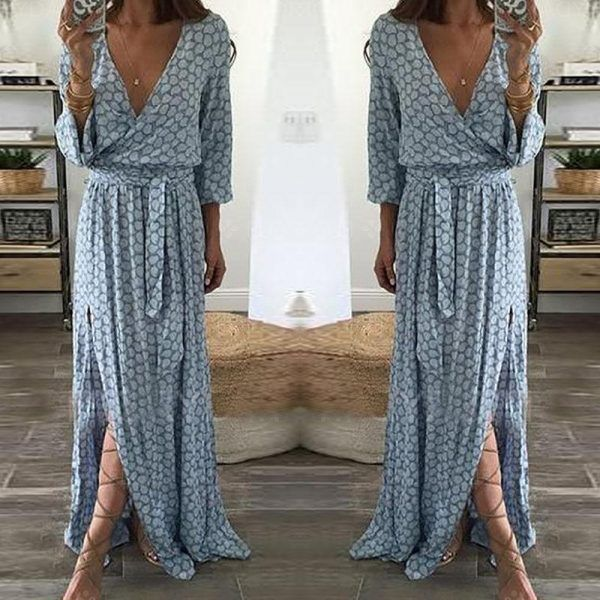 V-Neckline Long Sleeve Maxi A-line Dress
