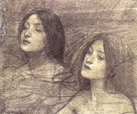 """Hylas and the Nymphs"" (study of two nymphs) circa 1896, John William Waterhouse"