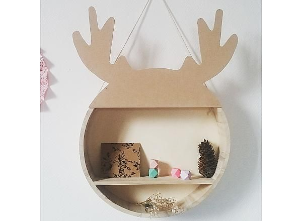 Etagere ronde bois de cerf, fait main, pitimana, deer,  kidsroom, ideedeco, decomurale