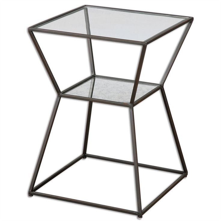 """A unique accent piece in black iron with clear glass top and antiqued mirror gallery shelf. Place it next to your bed or beside a sofa or chair. - 16 W x 23 H x 16"""" D - Made of iron and glass - Shelf"""