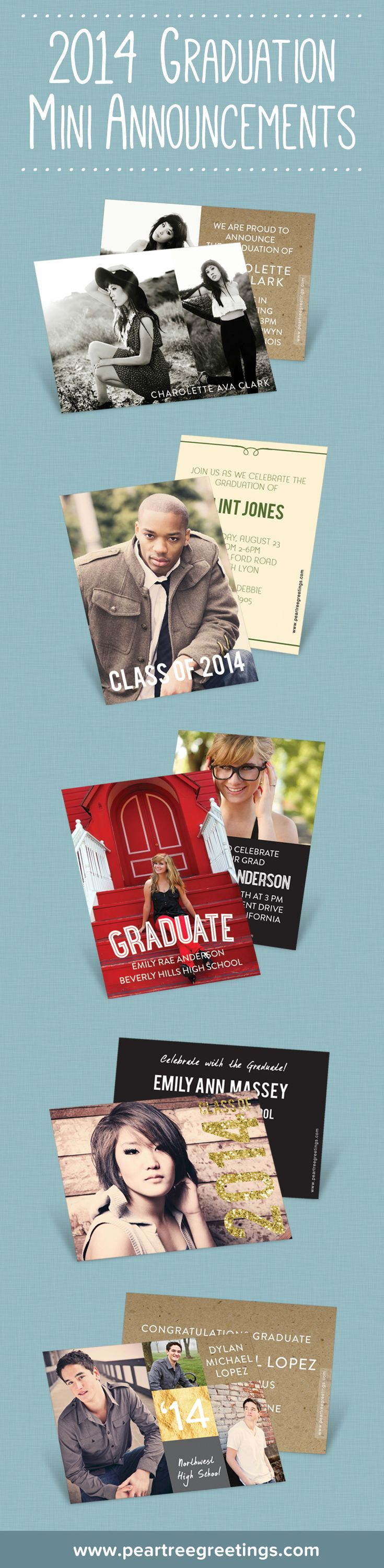 These pocket size mini graduation announcements are perfect