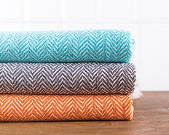Herringbone Towel, Bath Towel, Turkish Towel, Peshtemal, Hammam Towel, Turquoise, Dark Gray, Orange