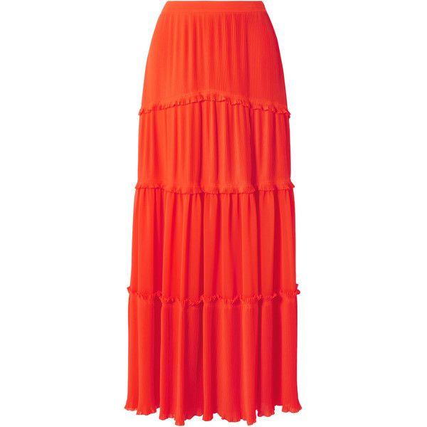 Tory Burch Stella tiered plissé-chiffon maxi skirt (770 AUD) ❤ liked on Polyvore featuring skirts, bright orange, long red skirt, red chiffon skirt, floor length skirt, tiered maxi skirt and chiffon maxi skirt