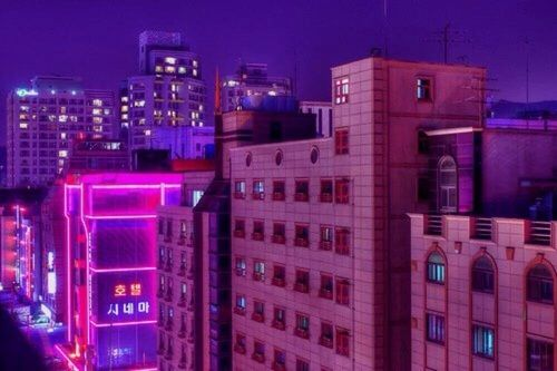 Image result for square purple city aesthetic