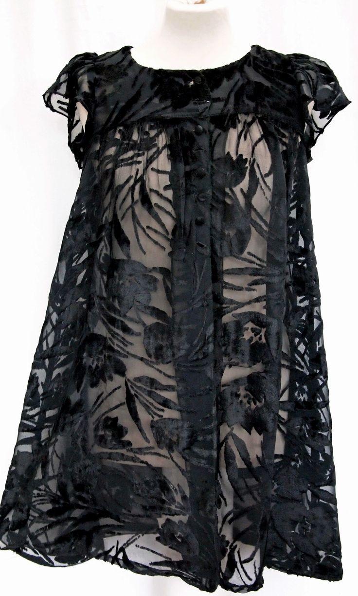 Biba black chiffon and Velvet devore smock top